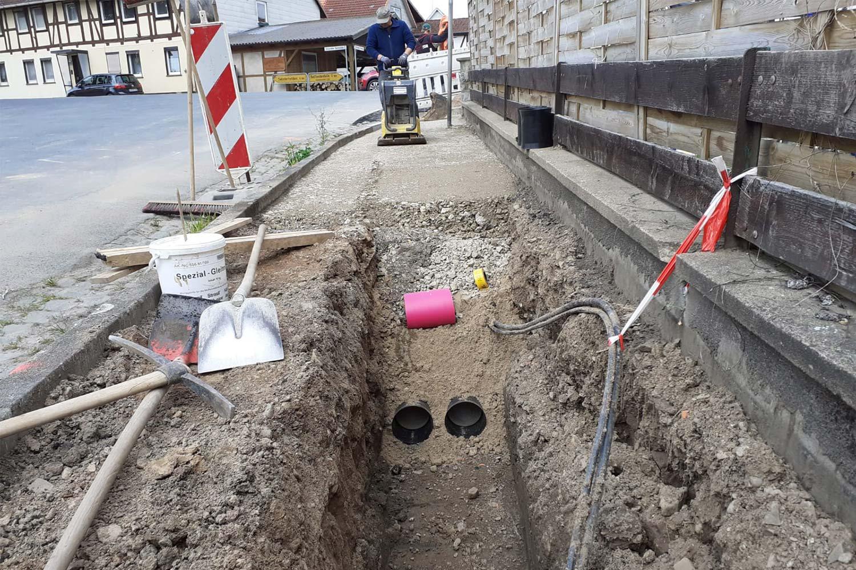 Verlegung von Kabelschutzrohren und Einzug von Mittelspannungskabel zwischen Rittierode und Olxheim